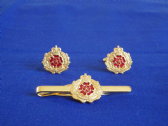 DUKE OF LANCASTER'S REGIMENT CUFF LINK AND TIE GRIP / CLIP SET